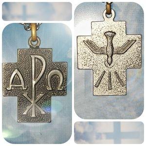 "Symbolic Cross 24"" Chain Antique Silver Necklace"